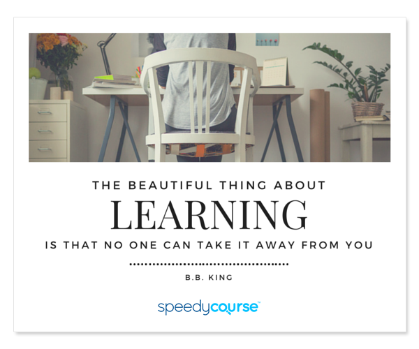 """The beautiful thing about learning is that no one can take it away from you."" ― B.B. King"